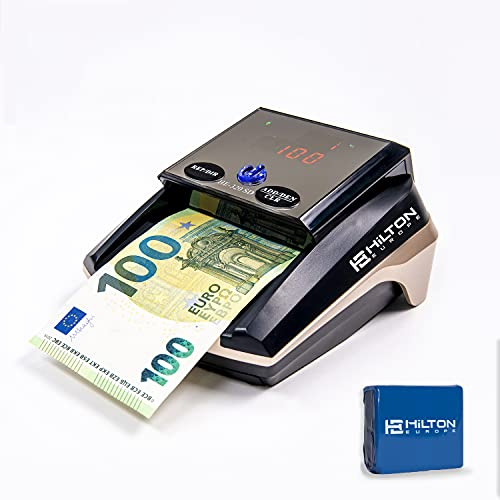 HILTON EUROPE | HE-320 SD Detector Automático de Billetes Falsos 100% Testado No necesita actualización divisa EURO| 8 SISTEMAS DE DETECCIÓN (Con Batería)