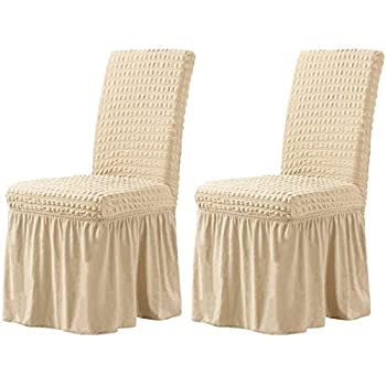CHUN YI Stretchy Universal Easy Fitted Dining Chair Cover Slipcovers with Skirt Removable Washable Furniture for Kids Pets Home Ceremony Banquet Wedding Party 2Pcs,Light Khaki