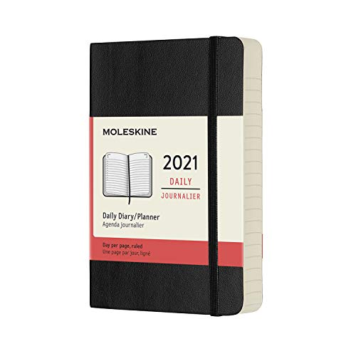 Moleskine Agenda Giornaliera 12 Mesi 2021, Daily Planner 2021, Copertina Morbida e Chiusura ad Elastico, Formato Pocket 9 x 14 cm, Colore Nero, 400 Pagine