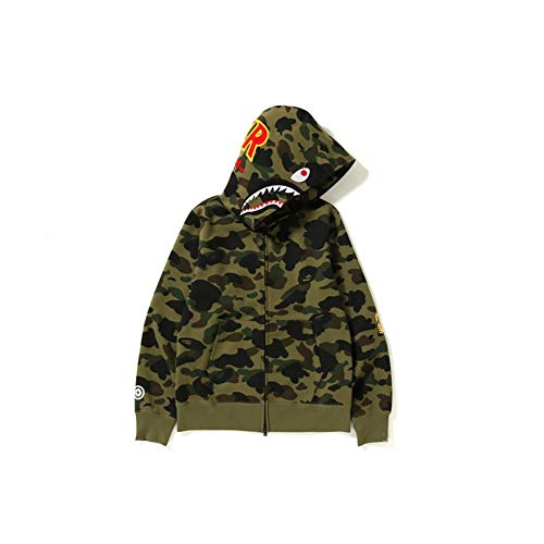 Best Shark Head Classic Hood Camouflage Felpa Moda Maglione Street Hot Jacket Verde Colore XXXL