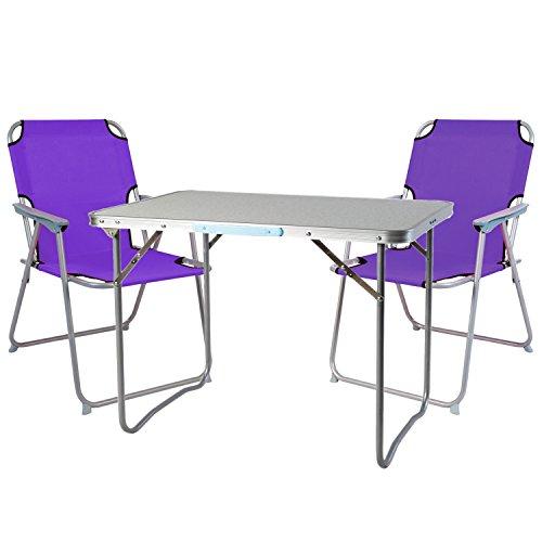 Mojawo - Set di 3 pezzi Oxfort - Set di mobili da campeggio in alluminio, 70 x 50 x 59 cm (lunghezza x larghezza x altezza), 1 tavolo da campeggio con maniglia e 2 sedie da campeggio, colore: Lilla