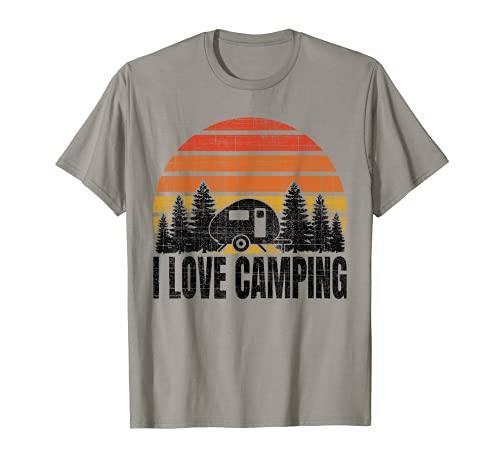 """Remolque retro vintage para caravana o caravana con texto en inglés """"I Love Camping Camiseta"""