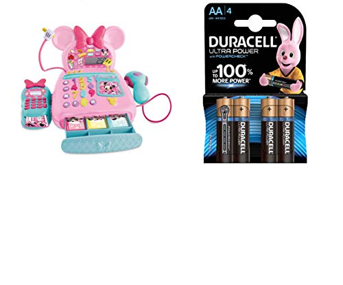 IMC Toys - La Caja registradora de Minnie Mouse + Duracell Ultra AA con Powerchek, Pilas Alcalinas, Paquete de 4
