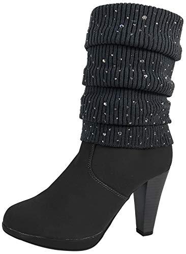 Damen Stiefel Strick Stiefeletten Boots Strickschaft High Heels leicht gefüttert BL62 (38, Grau Glitzer)