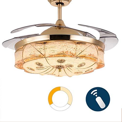 Ventilateur de plafond ZHAOSHUNLI Lumière Invisible Salon Salle à Manger Chambre Fan De Mode Lumière Accueil Mode Économie D'énergie LED Lustre (Color : Dimming, Size : Remote Control)