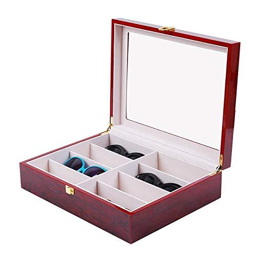 Brillenbox Brillendisplay Brillenorganizer Brillenaufbewahrung / Präsentation Showcase Brillen Koffer Etui Eyeglass Case mit Schaufenster aus Glas für Aufbewahrung und Präsentation von 8 Brillen,Rot
