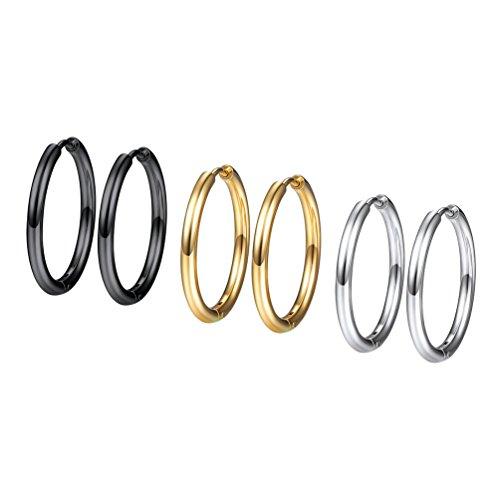 3 Piezas de Conjunto de Pendientes de Aro para Mujer 20mm Dorado Negro Plateado