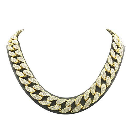 Pyramid Jewelers Mens Iced Out Hip Hop Gold Tone CZ Miami Cuban Link Chain Choker Necklace (16')