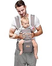 JooBebe 6 w 1 kabriolet nosidełko dla niemowląt z przodu i z plecakiem - ergonomiczne siedzisko dla niemowląt z regulowanym lekkim i oddychającym (od 3,5 do 30 kg), szary