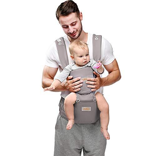 JooBebe Mochilas portabebé Ergonómico Ajustable Marsupios Portabebé 6 en 1 Baby Carrier Ergonomico con Asiento y Transpirable para Recién Nacidos y Niños Pequeños de 0 a 4 Años