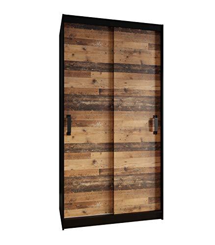 KRYSPOL Garderobenschrank Play 110 Kleiderschrank mit Kleiderhaken und Einlegeböden, Schwebetürenschrank, Diele & Flur, Modern Design (Schwarz Matt/Old Style Dunkel, ohne Spiegel)