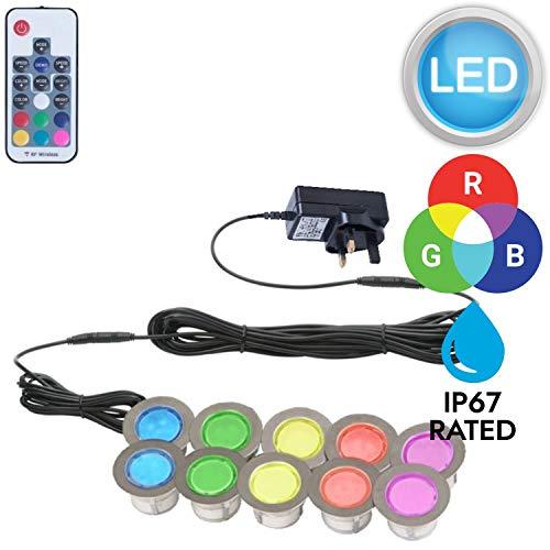 Decking Lights Colour Changing LED 25mm Deck//Plinth Lights IP67 Remote Control