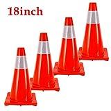 4 Piezas 18' 45cm PVC Conos De Tráfico por Carretera Cono De Seguridad De Estacionamiento Seguridad De Aislamiento Vial Señal De Advertencia Reflectante Roja Conos De Seguridad Vial