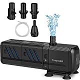Thanger Submersible Water Pump with Filters15 Watt, Fountain Pump 400 Gallons per Hour Aquarium Air Pump, Underwater Cleaner Oxygen Charging Wave Maker for Fish Turtle Tanks, Ponds, Pool, Waterfall