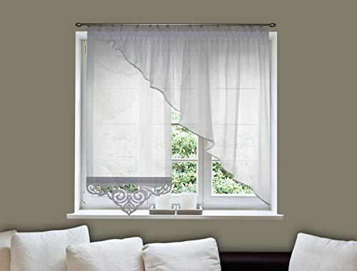 FKL Schöne Fertiggardine Fenstergardine Gardine Vorhang Weiß Panel Creme Kräuselband Smokband Store 150-170 cm Rechts Links AG34 (A, Schräge rechts)