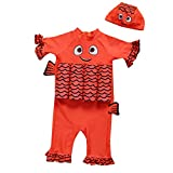 Timitai Kids Baby Set Boys Girls Float Suit Adjustable Buoyancy Cartoon Swimsuit Cap Beach