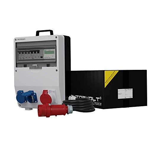 Stromverteiler TD-S/FI 1x16A 2x230V SKH mit Kabel 5x4mm2 Stromzähler MID geeicht Baustromverteiler Doktorvolt 9832