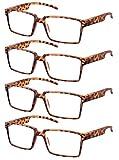 TBOC Gafas de Lectura Presbicia Vista Cansada – [Pack 4 Unidades] Graduadas +2.50 Dioptrías Montura de Pasta Marrón Carey de Diseño Moda Hombre Mujer Unisex Lentes de Aumento para Leer Ver de Cerca