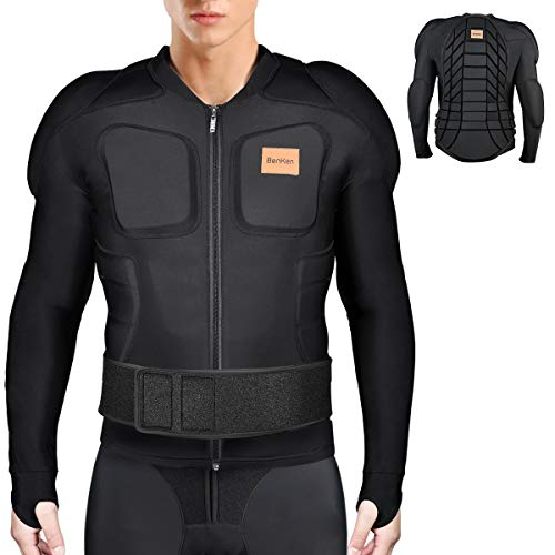 BenKen Ski Protective Wear, Jacket Training Wear, 3D EVA Pad, Shockproof, Back Protection, Sportswear, Sweat Absorbent, Quick Drying, High Elasticity, Bicycle Wear, Body Protector, Upper Body Protection, Omnidirectional Protection, Pain Relief, Injury Prevention, Snowboarding, Ice Hockey, Bike, black