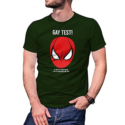 Fun Gay Test Spiderman T-Shirt Vert Militaire pour Homme Size L
