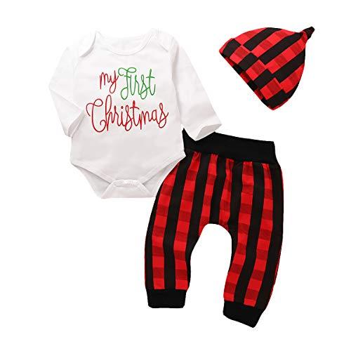 Gaga stad Baby Kerst Outfit, Mijn Eerste Kerst Kleding, Peuter Kerst Pyjama Jongens Meisjes Jumpsuit Romper met Broek en Hoed 3 Stks Pasgeboren Outfit Set 0-24 Maanden