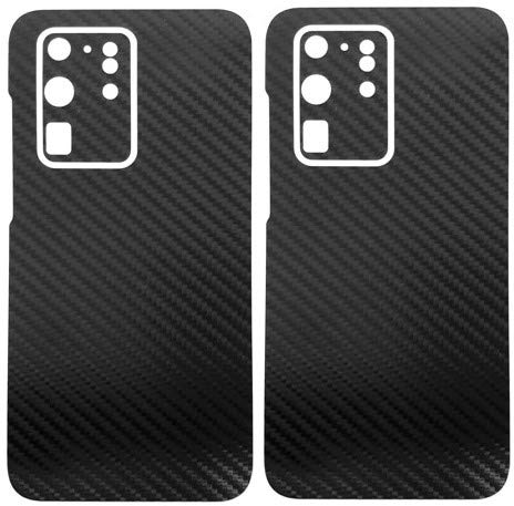 TKCase Galaxy S20 Ultra [2 stuks] skin folie sticker achterkant glas beschermfolie case wrap, carbon zwart