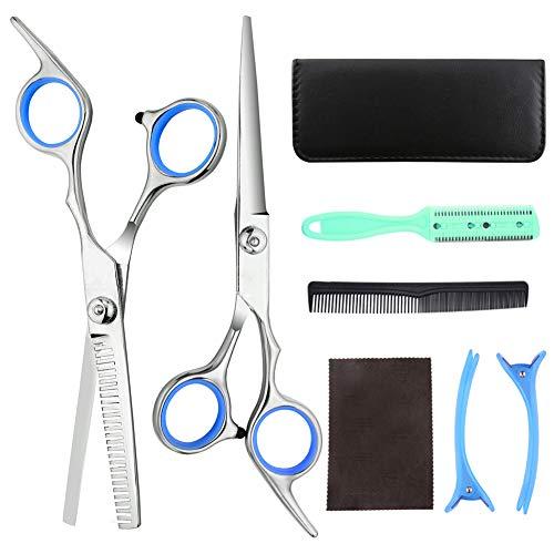 Rainmae Friseur Schere Set, 8 Stück Edelstahl Ausdünnen Haarschneiden Salon Schere und Kamm für Salon Friseure, Männer, Frauen, Kinder und Erwachsene