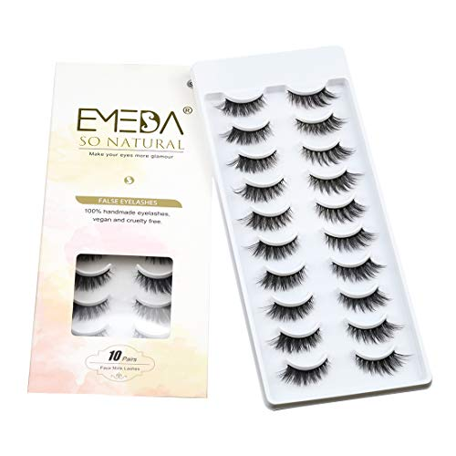 3D Fake Lashes Faux Mink Lashes Natural Look 10 Pairs Small Face Eyelashes 100% Handmade Lashes Wispies Short Soft Reusable Eye Lash 1 Pack by EMEDA