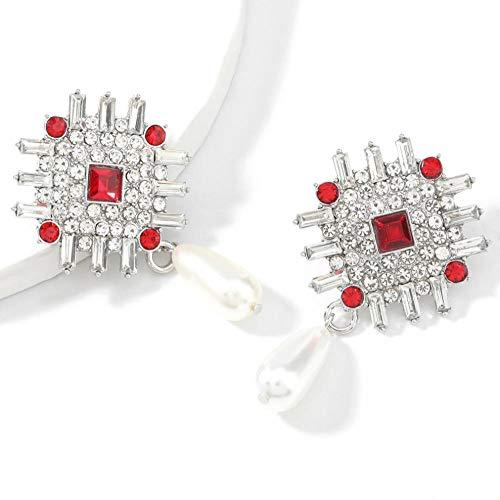 Vvff Pendientes De Perlas De Imitación De Diamantes De Imitación De Metal Pendientes Geométricos Populares Para Mujeres Accesorios Brillantes Para Banquetes