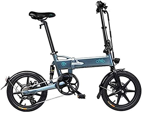 Electric Bike Fast Electric Bikes for Adults 16inch Tires Folding Electric Bike 250W Motor 6 Speeds Shift Electric Bike for Adults City Commuting (Color : Grey)