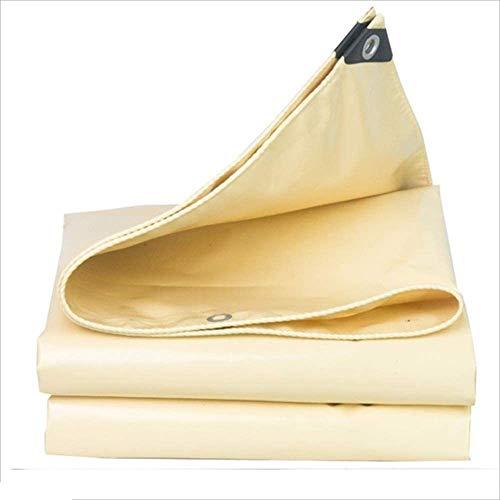 NGXIWW tentzeil, PE regen en zonwering, dik pvc, waterdicht doek, voor buiten, schaduw, canvas, bescherming, doek, isolatie, beige, 0,5 mm