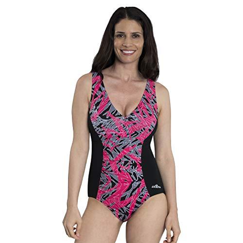 Dolfin Damen Aquashape Badeanzug mit V-Ausschnitt, Bedruckte Vorderseite, Einteiler - Rot - 42