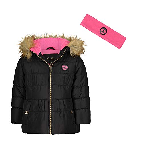 Jessica Simpson Girls' Expedition Parka, Black/Bright Pink, 4
