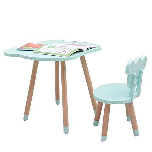 Kindertisch und Stuhl Set, Kindergarten Massivholz Study Tisch, Baby Schreibspiel Tisch und Stuhl, geeignet für Outdoor und Indoor