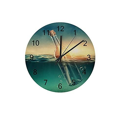 Orologio da parete in legno Silenzioso senza ticchettio Bottiglia alla deriva Mare a batteria Decorazione senza cornice Home Office Camera da letto Scuola 10 pollici