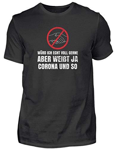 Corona und so. - Corona Virus Coronavirus Humor Spaß Lustige Sprüche Panik Hysterie - Herren Shirt -S-Schwarz