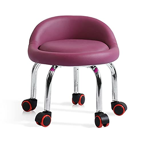 QFbp Silla ergonómica de rueda pequeña, asiento tapizado, respaldo bajo, marco de acero, rodillo rojo niño adulto sillón corto 36 x 32 cm