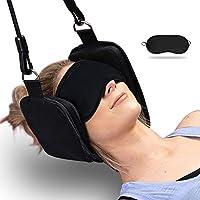 Cuello Hamaca Cervical Traccion | U UZOPI Cuello Alivio del dolor Cuello Estiramiento Alivio Fatiga Herramientas para el Alivio del Dolor de Cuello y Fisioterapia(con Mascara de Ojo,Negro)
