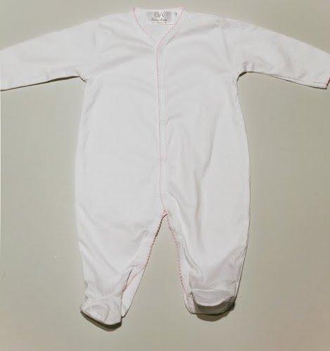 Bebé Annie 100% Pima algodón lunares para bebé con bordes Picot blanco White with pink spots Talla:6 meses