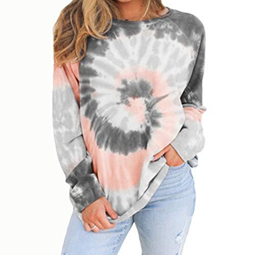 Camisetas de manga larga Mujeres adolescentes corbata tinte liviano jersey trewneck largo manga larga sudadera rayas sueltas en forma camisetas camisas ( Color : Grey , Size : Large Size )