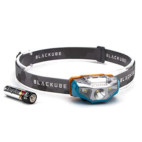 Blackube Lightweight Headlamp Ultra Bright Portable LED Headlamp - Only 1.69Oz -7 Lighting Modes,IPX6 Waterproof,Best Headlight for Camping,Running,Hiking and Kids,1AA Battery included (Blue)