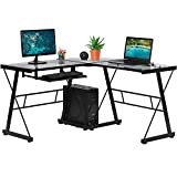Computer Desk Gaming Desk Toughened Glass Home Office Study Desk L Shaped Corner Writing Desk Girl Kids Student PC Modern Executive Table for Small Spaces with Keyboard CPU Stand (Clear)