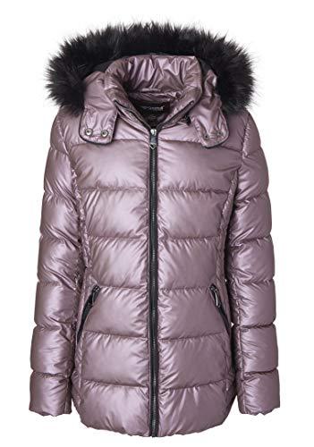 Sportoli Women's Iridescent Quilted Winter Puffer Jacket Coat Fur Trim Hood - Mauve (Size 3X)