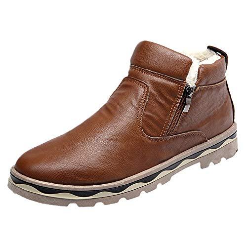 Botas de Nieve para Hombre,ZARLLE Botas de Nieve de Media Caña Zapatillas Cuero Casual Hombres Vintage Moda Cómodas Calzado Andar Zapatos Planos Bambas Botitas con Cierre