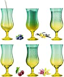 PLATINUX Juego de 6 vasos de cóctel de color verde y amarillo, 400 ml (máx. 470 ml)