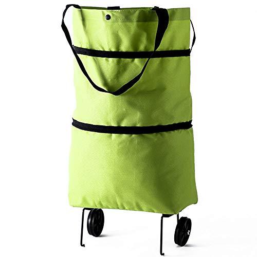 Mini Einkaufstrolley Oxford Tuch Faltbare Rad Einkaufstasche Wiederverwendbare Rad Einkaufstüte Grün Einkaufstasche Multifunktional Stabiler Grün Faltbar Einkaufstasche Für Tägliches Einkaufen