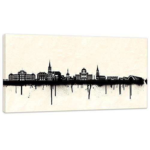Mural, cuadro de la ciudad de Bern, imágenes de Berna, negro y blanco, 40 x 80 cm, impresión de 2 cm Cuadro panorámico de metrópolis de Europa y paisaje de las ciudades de Londres