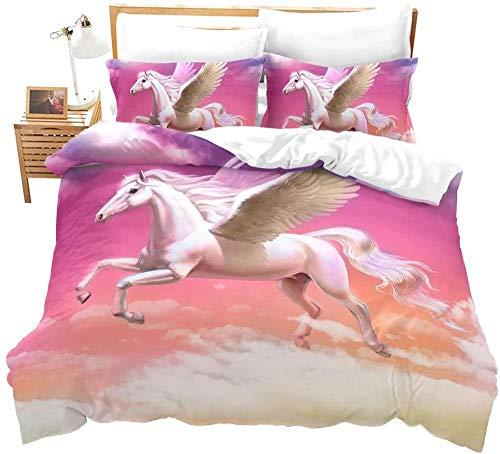 RTBDWOSI Premium 3D Semplice Rosa Romantico Animale Pegasus 200X200 Cm Printed Duvet Linen, Easy Care Bedding Copripiumino E Federe,Antiallergico, A Prova di umidità, Resistente agli Acari della Pol
