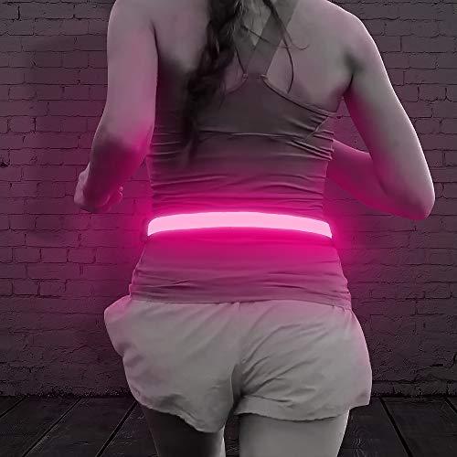 Illumifun LED Running Waist Belt - USB Rechargeable Reflective Glowing LED Waistband, High Visibility Safety Belt for Running, Jogging, Biking, Camping, Walking (Pink)