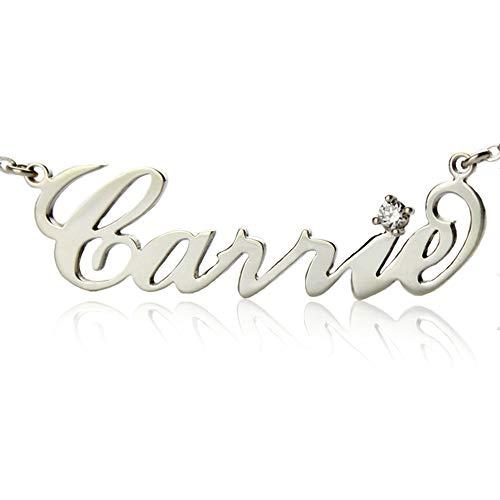 JunMei Sterling Silber Personalisierte Carrie Namenskette mit Geburtsstein - Gewohnheit irgendeine Namen gemacht